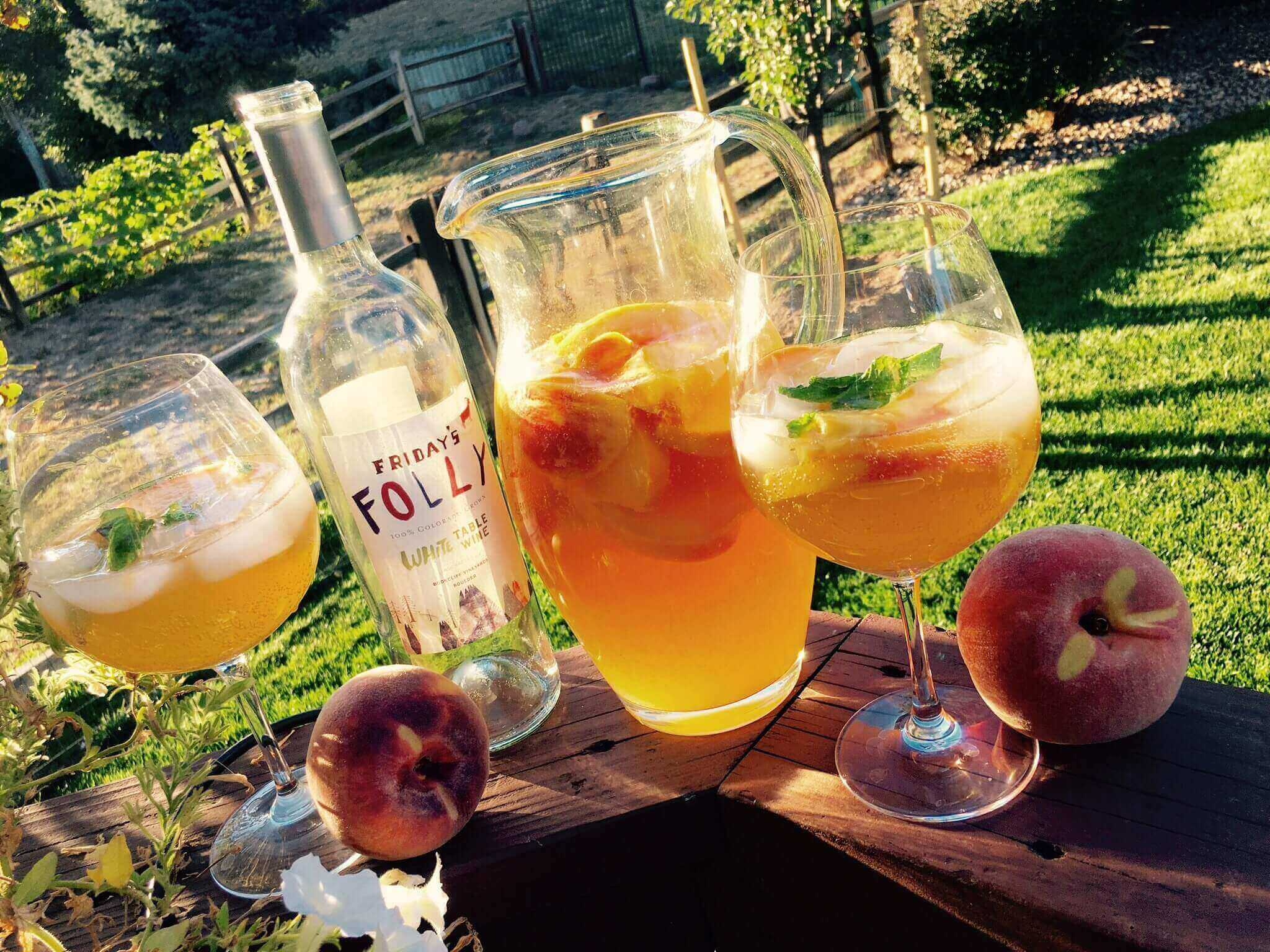 Palisade Peach Sangria, Palisade Peaches and Palisade Sourced White Table Wine